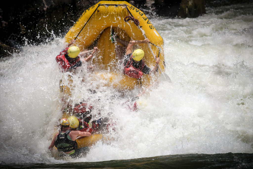 Whitewater rafting on the Zambezi River, below Victoria Falls. Zambia.