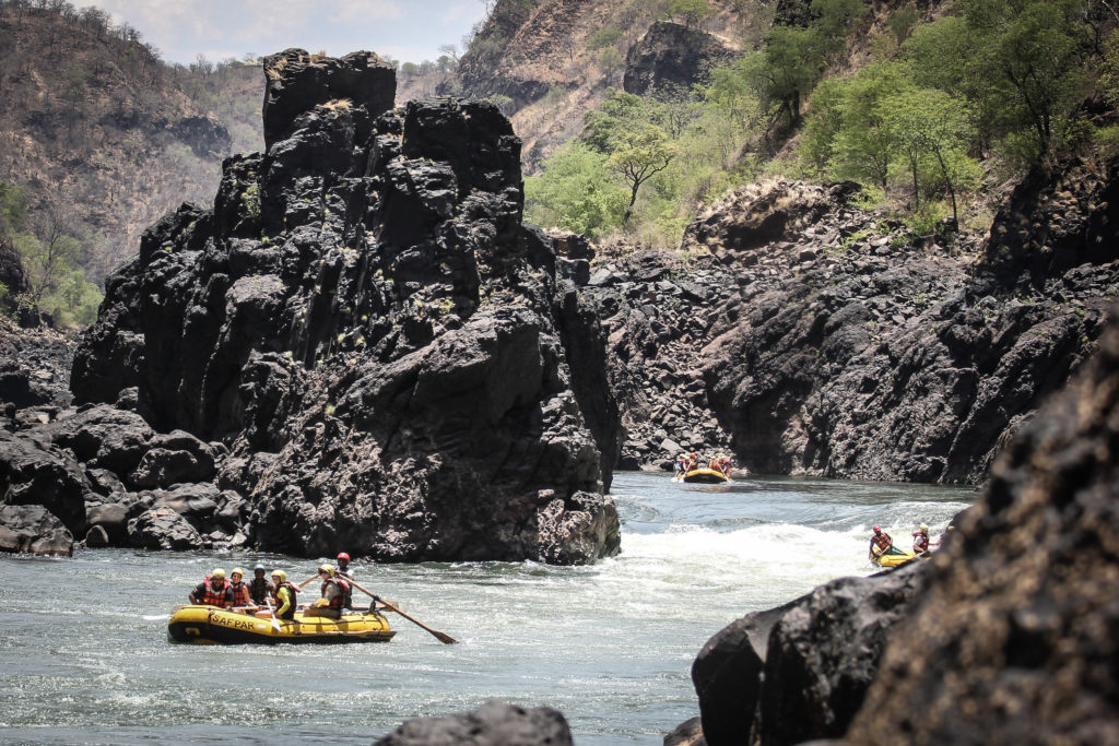 Victoria Falls, Zambezi, Raft on the river.