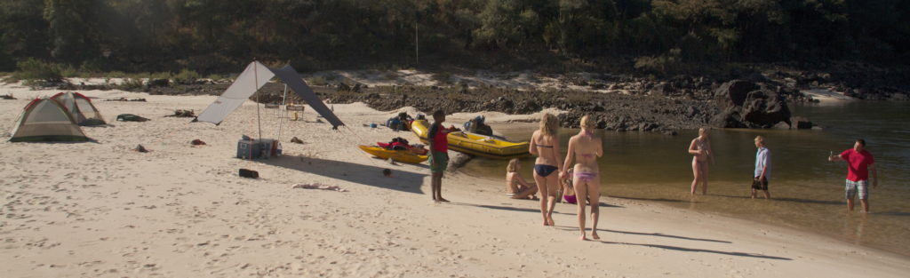 Multi-day white water rafting, the beach, Zambezi River, Victoria Falls.