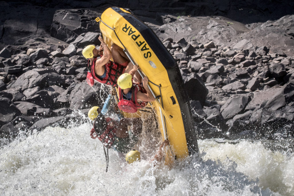 Raft, rapid #8 Zambezi River, middle Batoka Gorge.