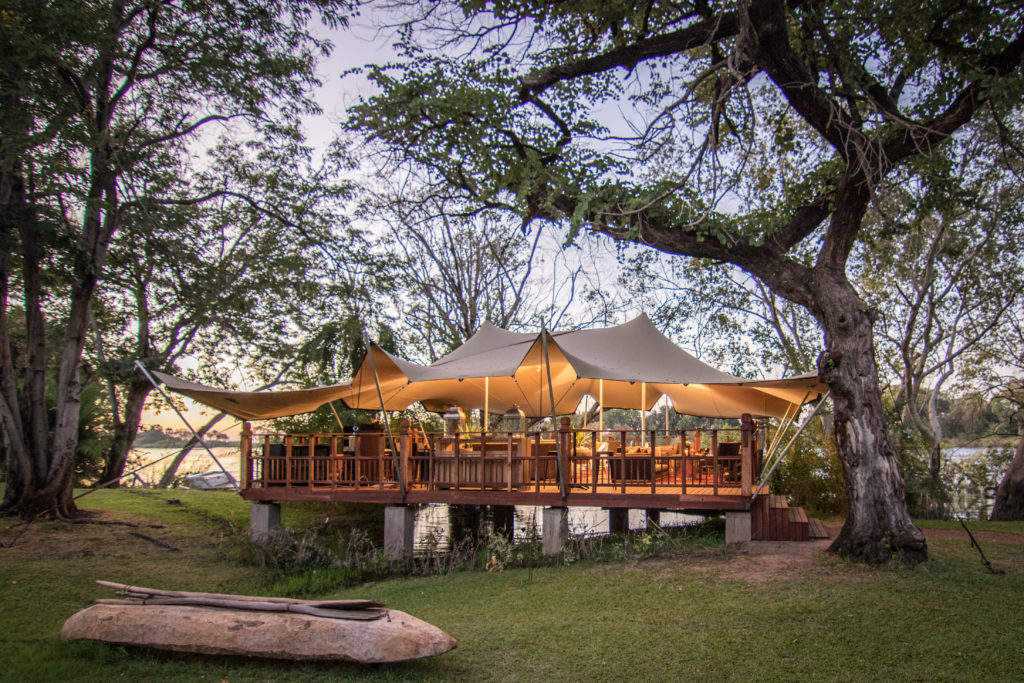 The elephant cafe on the banks of the Zambezi River