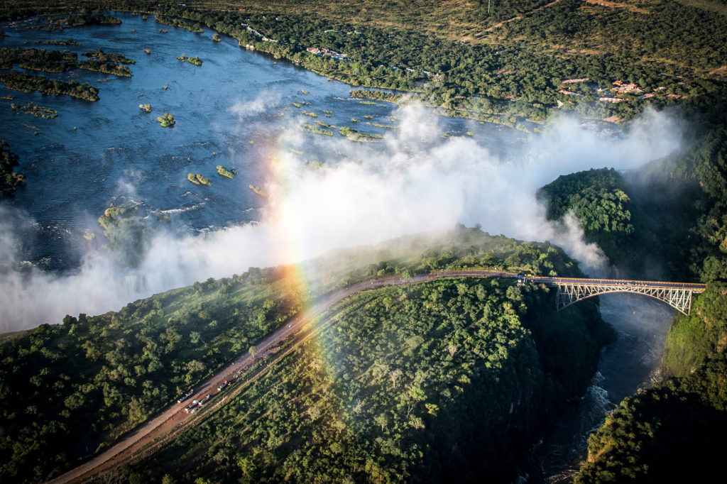 Zambezi River flowing over the Victoria Falls