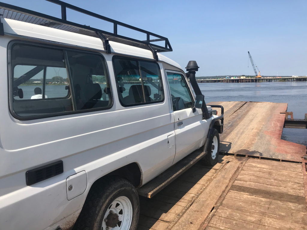 Toyota landcruiser on Kazangula Ferry
