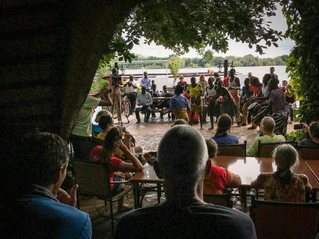 Zambezi River, group dancing, Victoria Falls, Livingstone Zambia