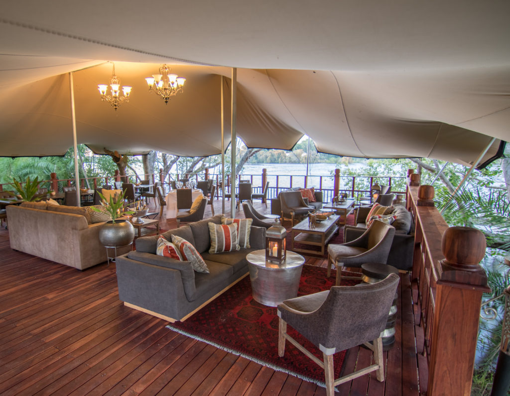 The elephant Cafe' deck on the banks of the Zambezi River