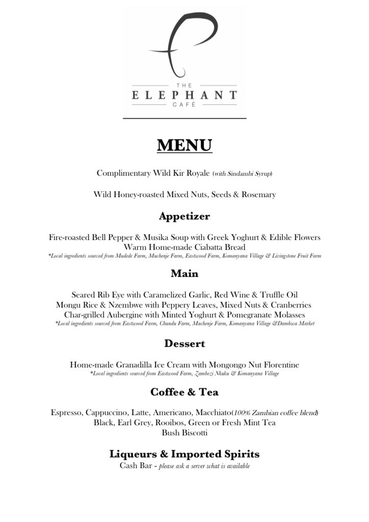 The Elephant Cafe Menu, bespoke according to what is seasonally available.