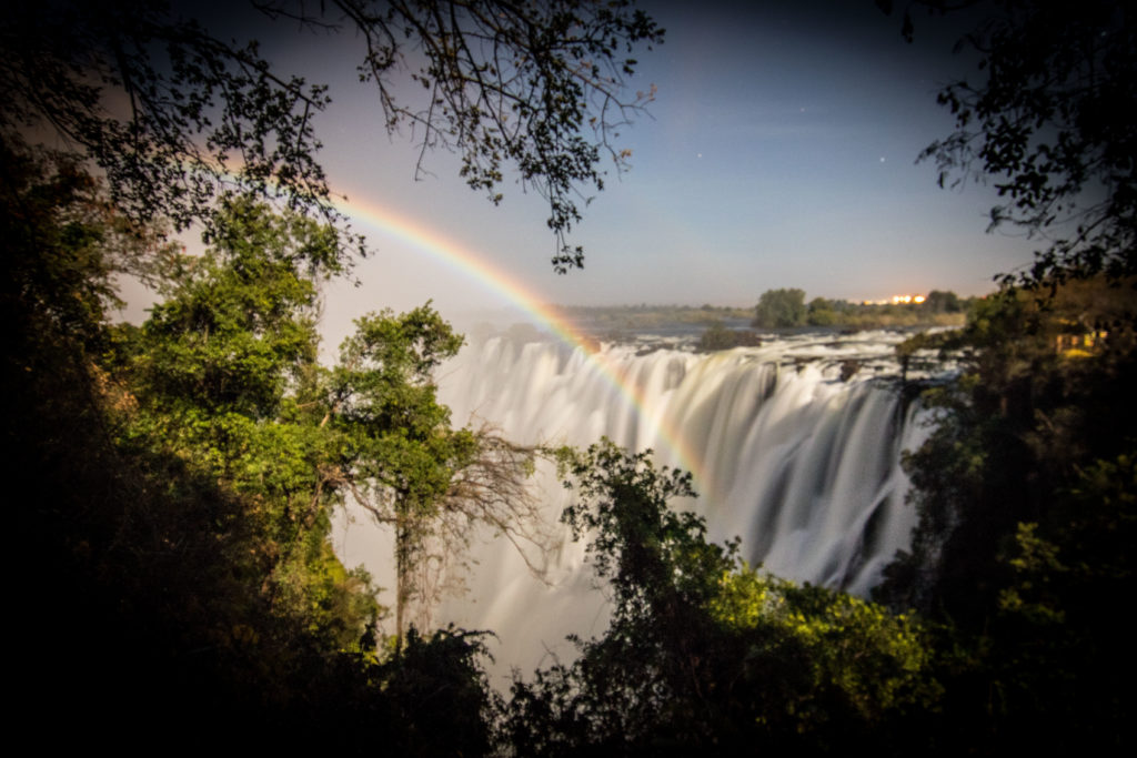 Waterfall, Victoria Falls, Lunar rainbow.