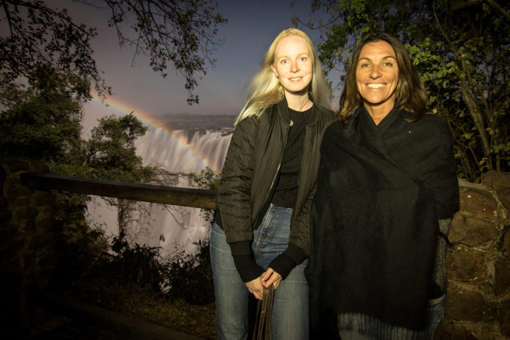 Victoria Falls, moonbow Lunar rainbow.