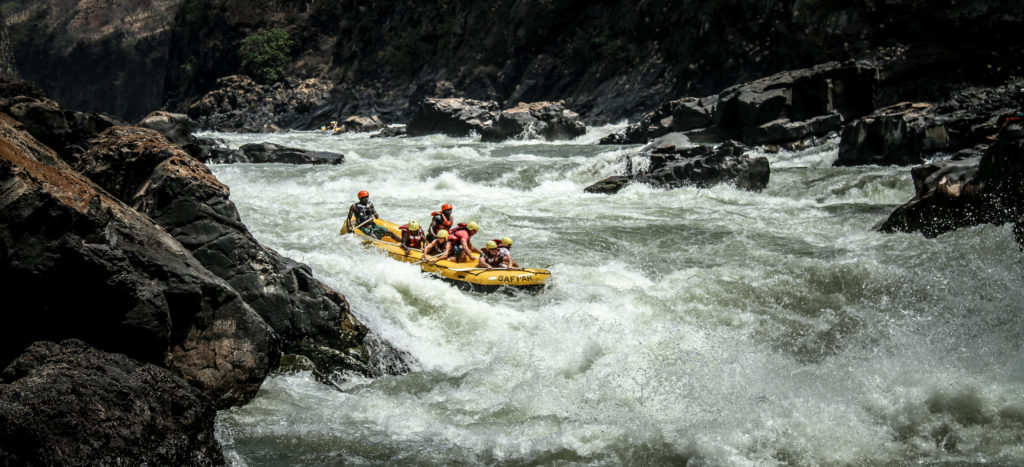 Rafting Rapid number seven on the Zambezi River Victoria Falls Africa.