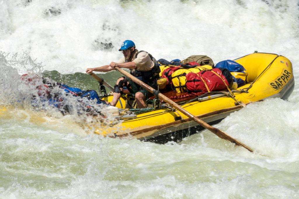 Raft, Zambezi River, Zambia.